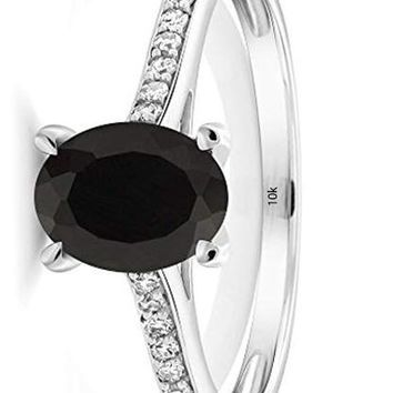 CERTIFIED 1.35 Cttw 10K White Gold Black Onyx and Diamond Engagement Solitaire Ring