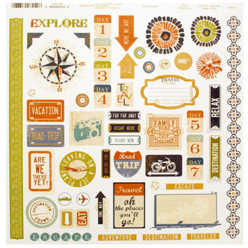 Travel Words & Icons Sticker Sheet: Case of 120