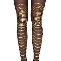 Goldfish Print Patterned Sheer Tights Black & Gold - Gal Stern