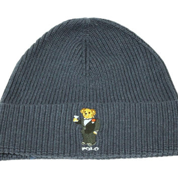 Polo Ralph Lauren Adult's Cuff Bear Navy Blue Beanie Hat One Size