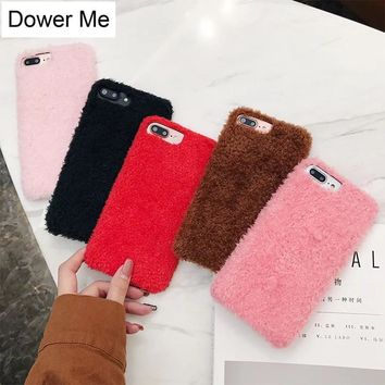 Dower Me Winter Warm Hot Fashion Cute Fluffy Curly Hair Fake Fur Soft Back Phone Case Cover For iPhone X 8 7 6 6S Plus