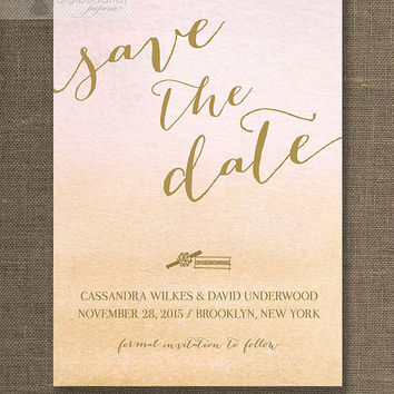 Gold & Ombre Watercolor Save The Date Card Invitation Rings Pink Coral Peach Shabby Chic Wedding Printable Digital or Printed - Cassandra