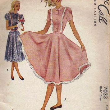 McCall's 7033 Sewing Pattern 40s Garden Party Tea Dress Full Twirl Skirt Fitted Bodice Ruffle Hem Vintage Depression Era Fashion Bust 26