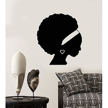 Vinyl Wall Decal African Girl Black Woman Silhouette Hair Stickers (2493ig)