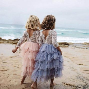 pudcoco 0-5Y Lace cake tutu luxuriant Girls Kids Wedding Flower Girl Dress Princess Party Pageant Dress long sleeve Tulle Dress