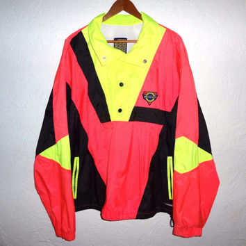 Neon Colorblock Windbreaker - 90s Vintage - Navarro - XL -
