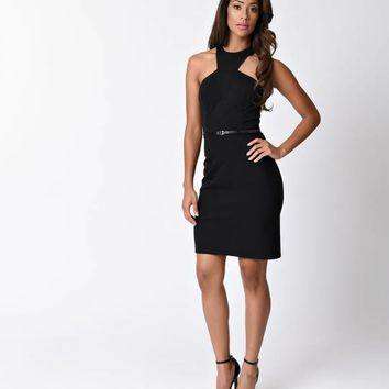 Black Sexy Halter Cut Out Fitted Short Dress for Prom 2017