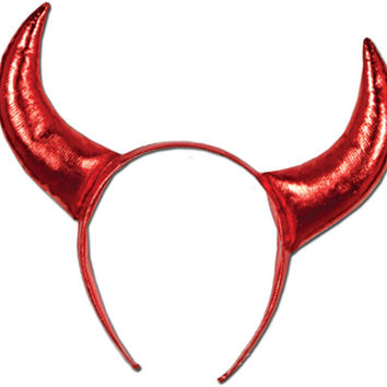 Halloween Devil Horns with Snap-on Headband - 12 Pack Case Pack 12