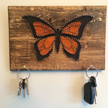 Monarch butterfly key or jewelry hanger, handmade string art butterfly art, small gift, Mother's Day gifts, 6.5 x10""