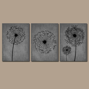 DANDELION Wall Art Prints Flower Artwork Black Gray Custom Colors Grunge Background Prints Bedroom Wall Art Bathroom Decor Dorm Set of 3
