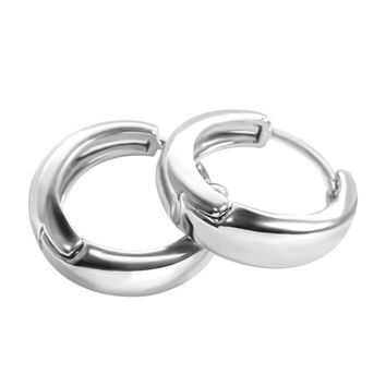 18K Gold Plated Platinum Smooth Glossy Ear Buckle Earrings