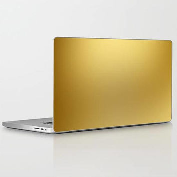 Solid Gold Laptop Skin, Luxury Solid Gold Vinyl Laptop Decal, Gold Vinyl Laptop Skin for Apple Macbook Air, Macbook Pro Retina, Macbook Pro