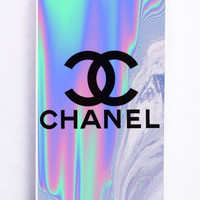 iPhone 5S Case - Rubber TPU Cover with Coco Chanel Holographic Rubber Case Design