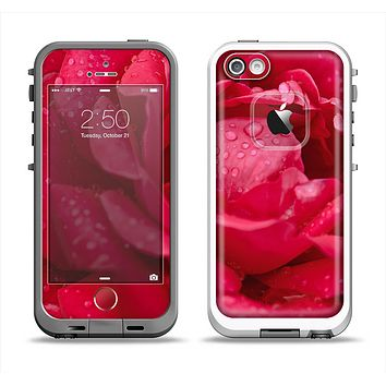 The Drenched Red Rose Apple iPhone 5-5s LifeProof Fre Case Skin Set