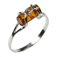 Honey Amber and Sterling Silver Designer Ring