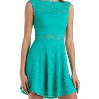 Deep Mint Scalloped Lace Boat Neck Skater Dress by Charlotte Russe