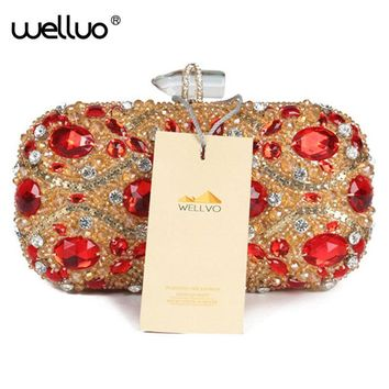New studded jeweled clutch Wedding Bridal purse Luxury Diamond Evening Bags Lady Gold clutch Women Crystal Party Bags Hot XA768B