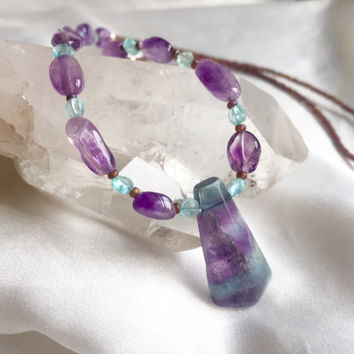 Aqua blue & purple fluorite, apatite, and amethyst pendant necklace. Simple, dainty and elegant handmade jewelry