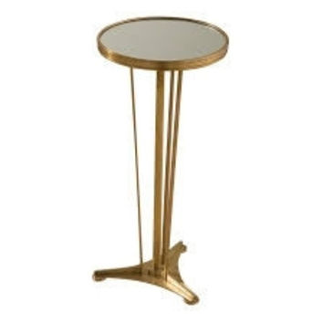 Global Views French Moderne Side Table-Antique Brass and Mirror