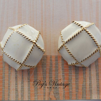 Vintage Cream Enamel Button Earrings, Gold Tone Clip On Earrings