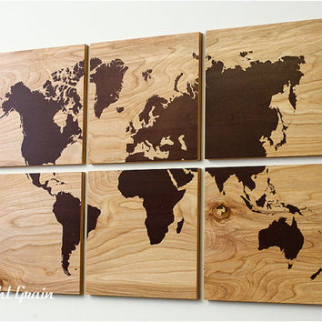 Wood Grain World Map Screen Print Large Wall Art - Rustic Home Decor