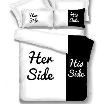 Black&white Her Side His Side bedding sets