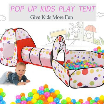 3 in 1 Pop Up Play Tent Playhouse Tunnel Ball Pit Baby Kids Play Folding Toy Indoor Outdoor Toys