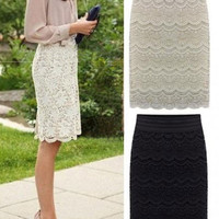 Scallop Crochet Lace Pencil Midi Skirt