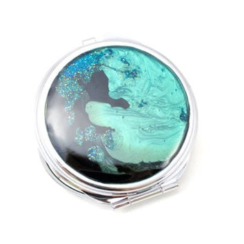 Makeup Mirror Purse Compact Rich Vibrant Teal Aqua Black Colors Beauty Fashion Purse Lipstick Mirror Accessory