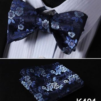 Fashion Floral Men's Bow Tie Silk Wedding Self Bowtie handkerchief Set #K4 Pocket Square Classic Party Wedding