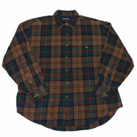 Vintage Lands End Brown Plaid Button Down Shirt Mens Size Large (16 - 16 1/2)