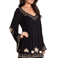 Free People Sky Fall Embroidered Dress in Black