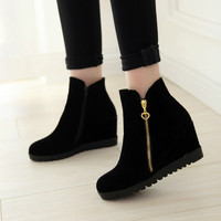2016 New Fashion women winter ankle boots Women hidden wedges boots Design zip Round toe Women western boots shoes woman