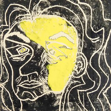 Abstract Portrait Block Print