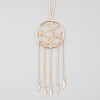 FULL TILT Dream Catcher Feather Fringe Necklace | Necklaces