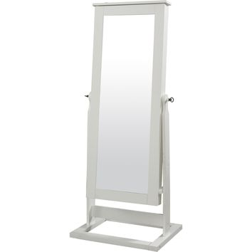 White Cheval Mirror Jewelry Armoire