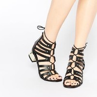 New Look Wide Fit | New Look Wide Fit Strappy Tie Up Sandal With Gold Heel at ASOS