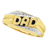 "Round Diamond Men's ""dad"" Cluster Ring in 14k Gold 0.01 ctw"