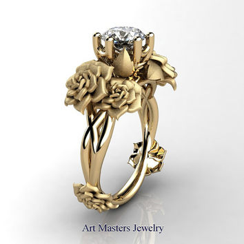 Nature Inspired 14K Yellow Gold 1.0 Ct White Sapphire Rose Petal Solitaire Ring R317S-14KYGWS