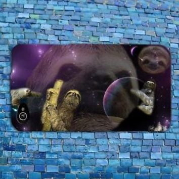 Cute Sloth Outer Space Galaxy Funny Animal Case Cover iPhone 4 4s 5 5s 5c 6 6s +