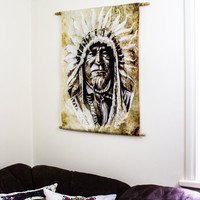 Indian Chief Tapestry, Wall Hanging Indian Headdress, Bohemian Decor, Interior Hanging Wall Art Print