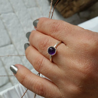Amethyst ring, Thin silver ring, Sterling amethyst ring, purple ring, stacking ring, minimalist ring, birthstone ring, simple ring, Gift