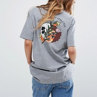 RVCA Oversized Boyfriend T-Shirt With Balance Skull Back Print at asos.com
