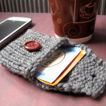 Grey Tea Tote, Reusable Tea Pouch, Tea Bag Holder, Gift for Tea Lover, Tiny Knitted Purse, Handmade Tea Organizer, Tea Bag Wallet Coin Purse