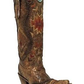 Corral  Multi-color Ethnic Pattern & Whip Stitch Boots