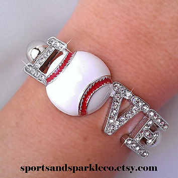 "Sporty Rhinestone Crystal ""LOVE"" Stretch Bracelet - Baseball, Football or Volleyball"