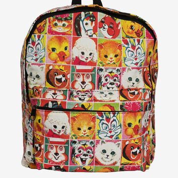 Les Animaux Cartoon Print Backpack