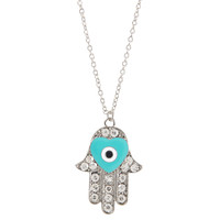 Aeropostale Womens Hamsa Long-Strand Necklace - Blue, One