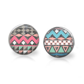 Modern Earrings Tribal Print Tribal Pattern Aztec Pattern Aztec Jewelry Tribal Jewelry Tribal Earrings Glass Studs Light Blue Pink Pastel