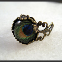 Peacock Tail Eye Vintage Ring Brass Filigree Side by yylulu